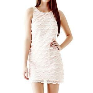 GUESS Sleeveless Fringe Crochet Scalloped Dress M